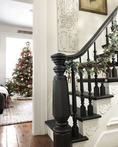 Painted Stairs The How To Designs By Karan House Stairs Designs Karan Painted Stairs Decor, Black Stair Railing, Painted Staircases, Staircase Wall, Staircase Design, Banisters, Upstairs Downstairs, Painted Stairs