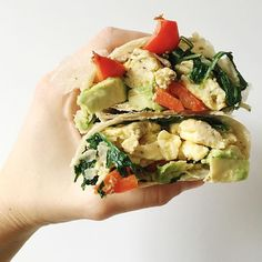 Introducing Feddy W(r)ap...taking over the (w)rap music and breakfast game. Brown rice wrap, scrambled eggs, sautéed kale and peppers in coconut oil, and avocado. #goodmoodfood #feedyourbrain