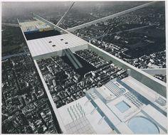 Rem Koolhaas, Elia Zenghelis, Madelon Vriesendorp, Zoe Zenghelis. Exodus, or the Voluntary Prisoners of Architecture: The Strip (Aerial Perspective). 1972