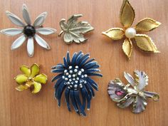 vintage floral brooches lot of 6 pins 1950s to 1970s by lolatrail, $14.00