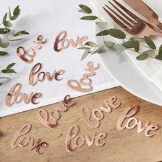Tischkonfetti Love Roségold Konfetti Tisch Streu Deko Ideen Hochzeit Liebe van harte www.vanharte.de #hochzeitsdeko #hochzeit #tischdeko