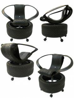 DIY Möbel aus Autoreifen design recyceln büro sesselstuhl
