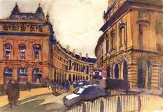 This unique architectural statement by John Nash in the heart of London was one of the reasons for my initial visit there. Watercolor Prints also available. Piccadilly Circus, British Isles, Watercolor Print, John Nash, Sketches, London, Studio, Architecture, Watercolors