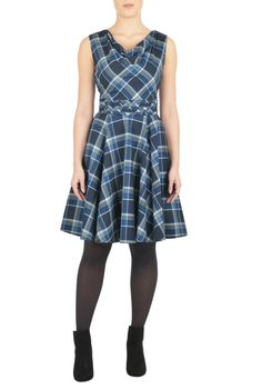 Eshakti. A draped neckline and pleating at the inset high waist style our oxford cotton check dress with a full skirt for flirty twirl.  MINE NOW