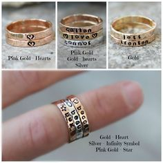 Hand Stamped Stacking Rings - Mothers rings, Name Rings, Personalized Gold, silver, pink gold rings - kids name rings - organic rings - by galwaydesigns on Etsy https://www.etsy.com/listing/263903700/hand-stamped-stacking-rings-mothers