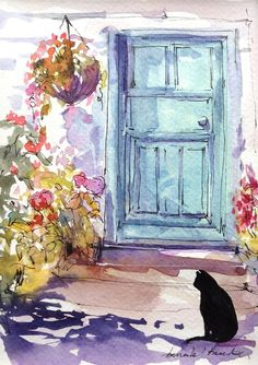 Original Watercolour Landscape Painting-Black Cat in the Sun- by Annabel Burton
