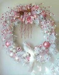 wreath white dove pink shabby Christmas wreath (not quite blue-green, but the concept would transfer to many color themes.)shabby Christmas wreath (not quite blue-green, but the concept would transfer to many color themes. Wreath Crafts, Diy Wreath, Christmas Projects, Holiday Crafts, White Wreath, Wreath Ideas, Christmas Ideas, Tulle Crafts, Tulle Wreath