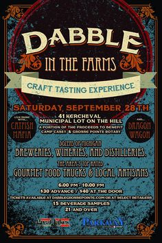Dabble in the Farms - Craft Tasting Experience, Sept 28th on the Hill in Grosse Pointe.