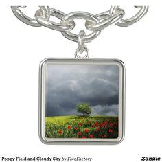 Poppy Field and Cloudy Sky Charm Bracelets