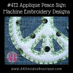 Applique Peace Sign Machine Embroidery Designs