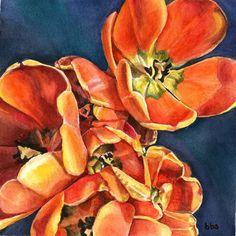 orange flowers original watercolor tulips flower by favoriteflower. $80.00, via Etsy.