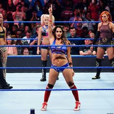 See photos of Becky Lynch, Nikki Bella, Naomi, Natalya, Alexa Bliss and Carmella battling to become the first-ever SmackDown Women's Championship in this Six-Pack Elimination Challenge. Nikki And Brie Bella, Wwe Girls, Wwe Ladies, Wwe Female Wrestlers, Wrestling Divas, Wrestling Outfits, Boxing Training, Wwe Womens, Total Divas