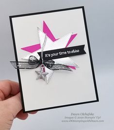 Stamping with the STARS #342: Star Inspired Card Cool Cards, Diy Cards, Star Cards, Stars Craft, Glitter Stars, Star Ornament, Handmade Birthday Cards, Stampin Up, Card Making