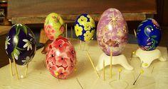 Hand painting ceramic eggs...