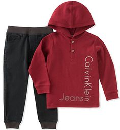 Baby Boy Clothes Calvin Klein Baby Boys' Thermal Hoodie Sets, Red/Black, 12M
