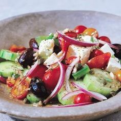 Greek Cucumber Salad ~ grape tomatoes, cucumber, green pepper, small red onion, Kalamata olives, feta cheese, lemon juice, vinegar, oregano, parsley, salt, pepper, olive oil