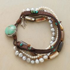 "ABALONE STRAND BRACELET -- Four strands mingle underwater elements with earthy brown suede. Cultured gray and white pearls hint at abalone's iridescent flecks. Turquoise beads and button clasp. Handcrafted exclusive. Approx. 7-1/2""L."