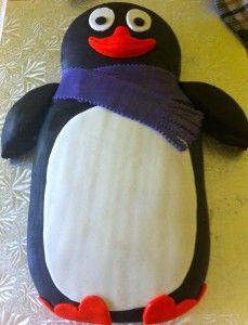 A Penguin birthday cake by Emily Hayes Cakes  www.emilyhayescakes.com
