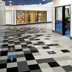 Tour our world-wide Project Photo Galleries to see beautiful commercial flooring installations for every type of space. Vct Tile, Vinyl Tile Flooring, Vinyl Tiles, Floor Patterns, Tile Patterns, Garage Floor Tiles, Armstrong Flooring, Tuile, Unique Flooring