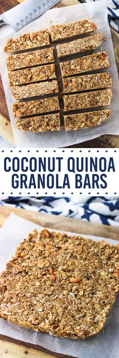 Coconut quinoa granola bars are chock full of tasty, nutritious ingredients for a healthy and hearty snack bar recipe. These bars are so chewy!