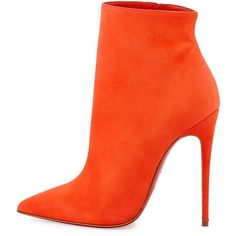 Christian Louboutin So Kate Booty Red Sole Ankle Boot ($1,095) ❤ liked on Polyvore featuring shoes, boots, ankle booties, heels, ankle boots, christian louboutin, suede ankle boots, high heel booties, suede boots and suede booties