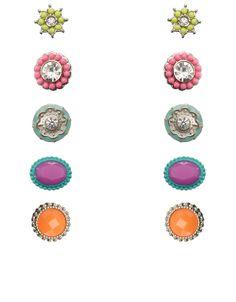 Set aus 5 Paar Neon-Ohrsteckern