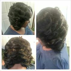 Partial Sew In Razor cut Bob...