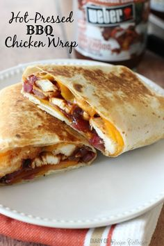 Hot Pressed BBQ Chicken Wrap - Sliced grilled chicken, applewood brown sugar barbecue sauce, red onion, and melted cheddar all wrapped up in a tortilla and grilled makes for a quick and easy dinner! (all recipes brown sugar) Bbq Chicken Wraps, Chicken Wrap Recipes, Bbq Chicken Quesadilla, Chicken Tortilla Wraps, Easy Wrap Recipes, Grilled Chicken Leftover Recipes, Recipes For Shredded Chicken, Healthy Chicken Wraps, Southwest Chicken Wraps