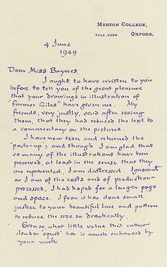 """1949 letter by Tolkien to Pauline Baynes, illustrator of C.S. Lewis' """"The Chronicles of Narnia"""" as well as of Tolkien's own """"Farmer Giles of Ham,"""" """"Smith of Wootton Major,"""" and """"The Adventures of Tom Bombadil"""""""
