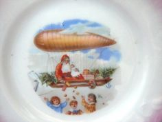 Very Old Santa Claus Child's Dish Riding in a Dirigible: transportation santa dirigible: Removed Christmas China, Vintage Christmas, Antique Dishes, Vintage Children, Stuff To Do, Transportation, Santa, Ruby Lane, Antiques
