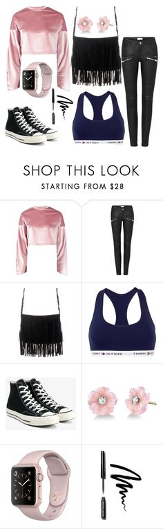"""""""Cropped Day!"""" by qwertyuiop-sparta ❤ liked on Polyvore featuring Boohoo, Tommy Hilfiger, Converse, Irene Neuwirth and Bobbi Brown Cosmetics"""
