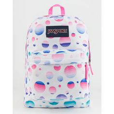 Jansport Superbreak Backpack ($36) ❤ liked on Polyvore featuring bags, backpacks, strap backpack, jansport rucksack, dot bag, polyester backpack and padded bag
