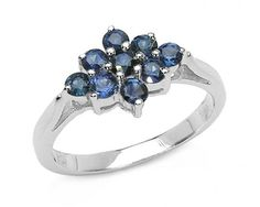 chicmarket.com - 0.67 Carat Genuine Blue Sapphire .925 Sterling Silver Ring - 6