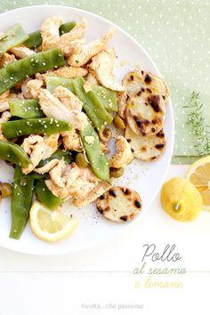 ricotta...che passione: Pollo al sesamo e limone con piattoni e patate grigliate