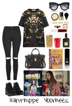 """""""#stealherstyle: The unbreakable Kimmy Schmidt Xanthippe Voorhees"""" by you-turn-my-camera-on on Polyvore featuring 3.1 Phillip Lim, Thierry Lasry, Givenchy, Topshop, American Apparel, NARS Cosmetics, 90s Lullaby, Tom Ford, Bulbrite and Kate Spade"""