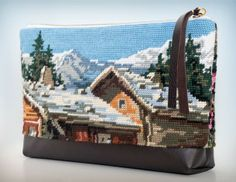 La vallee.  Large needlepoint clutch bag.  The lovley Alps.