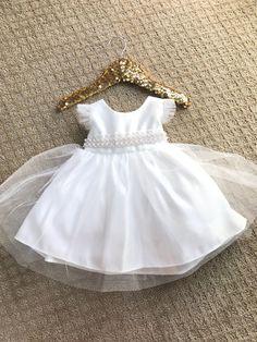 Girl Christening Dress Baby Baptism Dress White von BabyGalore0