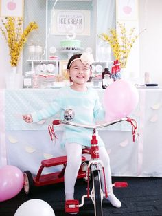 Pin for Later: This Ice Cream Parlor Birthday Will Melt Your Heart 3rd Birthday Party For Girls, Birthday Bash, Love Ice Cream, Ice Cream Parlor, White Shelving Unit, Sundae Bar, Metallic Balloons, Pink Envelopes, Cute Cupcakes