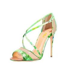 Womens Open Toe Mesh Sandals Stiletto High Heels Strappy Buckle Stilettos Shoes for Work, School FSJ Design