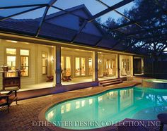 "Rear Elevation and Pool. The Sater Design Collection's luxury, Farmhouse home plan ""Bainbridge"" (Plan #7051). saterdesign.com"