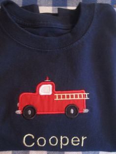 PERSONALIZED Name Kids Fire Truck Engine Applique Design Boys T Shirt Onesie MONOGRAMMED Monogram on Etsy, $18.00