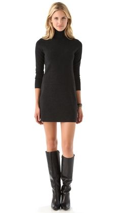 Tight black turtle neck dress + knee high boots.