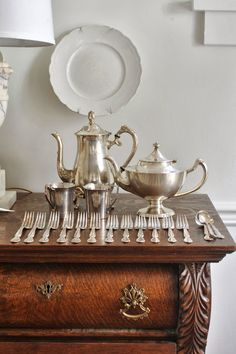 all my favorites, antique furniture, silver and white