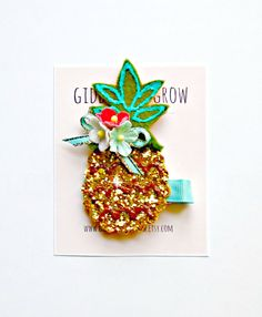 A pineapple?! So cute. Glitter Hair Clip - Pineapple Hair Clip Summer collection, Giddy Up and Grow on Etsy, $15.00