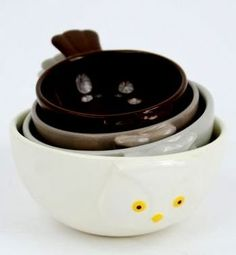 Owl Bird Measuring Cups / Bowls for Baking, Set of 4, Ceramic: Amazon.com: Kitchen & Dining