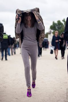 Leave it to Carine to make a sweatsuit look incredibly chic.