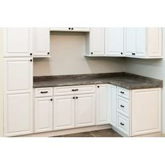 Shop our RTA North Timber Newport Honey Shaker cabinets. All wood cabinet box construction. White Shaker Cabinets, White Kitchen Cabinets, Kitchen Cabinet Design, Plywood Cabinets, Oak Cabinets, L Shape Kitchen Layout, Corner Base Cabinet, Distressed Cabinets, Craft Room Design