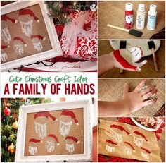 DIY Family Hand Print Santa Wall art #diy #crafts #homedecor