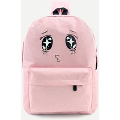Pink Cartoon Print Front Zipper Nylon Backpack ($19) ❤ liked on Polyvore featuring bags, backpacks, decorating bags, cartoon backpack, rucksack bags, pink backpacks and nylon bag