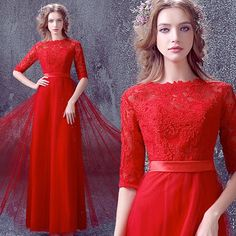 Elegante lange rote Spitze Brautkleider / Red von PhoebeDressShop